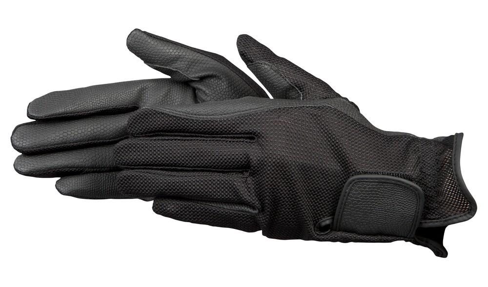 Jazdecké rukavice so sieťovinou - čierne