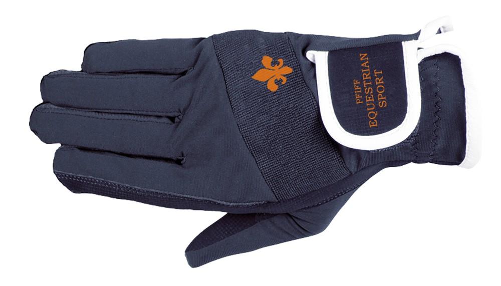 Jazdecké rukavice s logom - modré