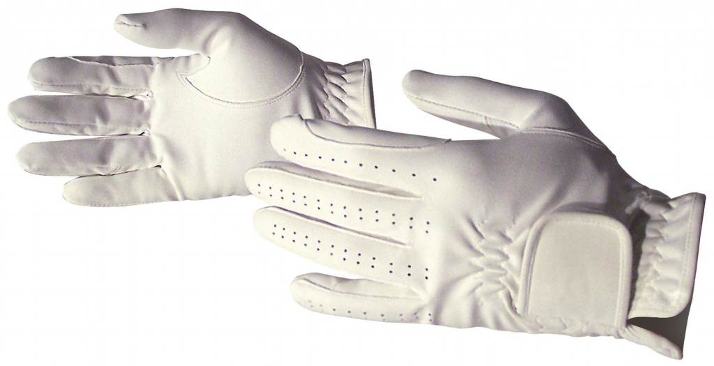 Jazdecké rukavice zo syntetickej kože - biele