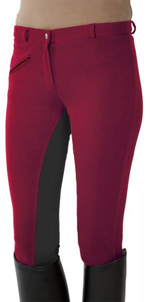 Jazdecké nohavice s celokoženým sedom - červené/sivé