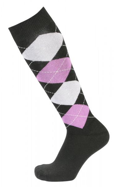 Kárované podkolienky čierno-purpurovo-fialová