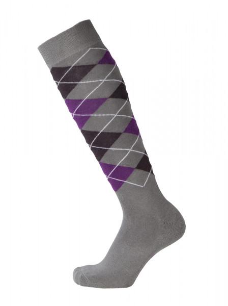 Kárované podkolienky sivo-fialové