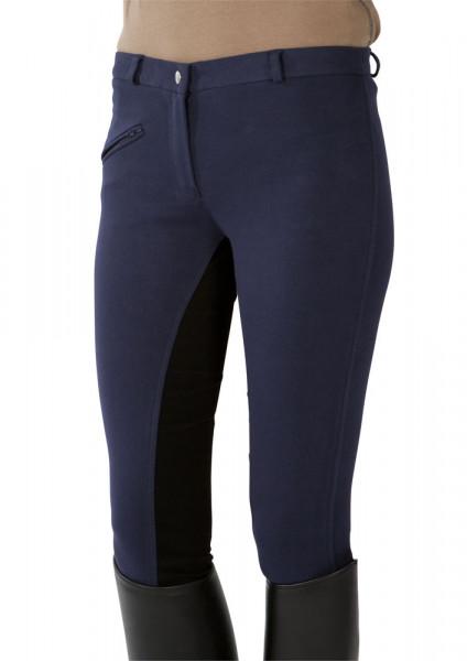Jazdecké nohavice s celokoženým sedom - modré/čierne