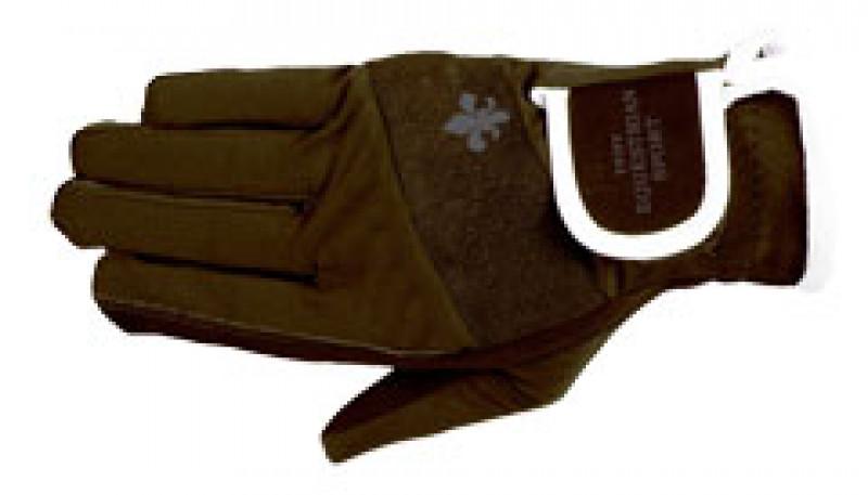 Jazdecké rukavice s logom - hnedé