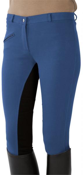 Jazdecké nohavice s celokoženým sedom - svetlomodré/čierne