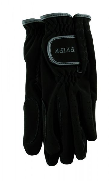 Jazdecké rukavice zo syntetickej kože - čierne
