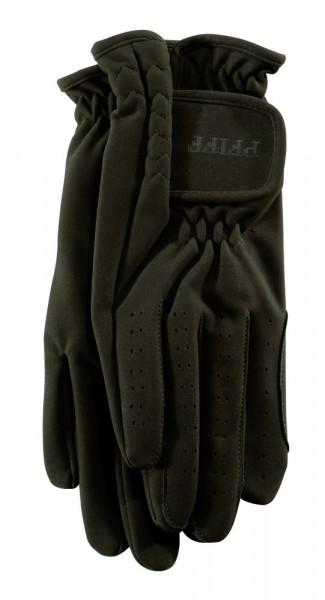 Jazdecké rukavice zo syntetickej kože - hnedé