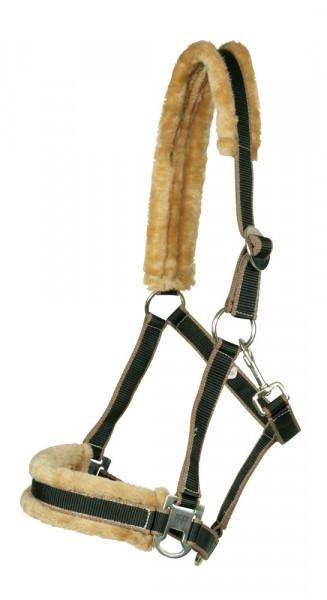 Ohlávka s umelou kožušinou čierna-hnedá