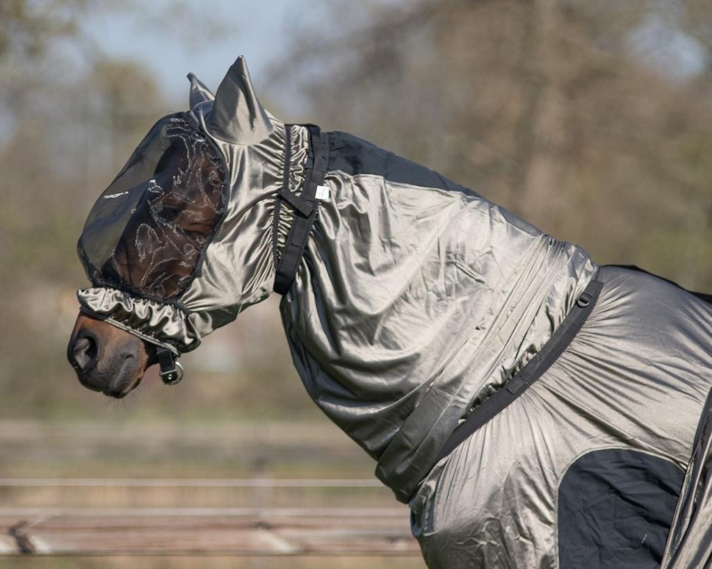 Maska pre koňa s ekzémom - šedá