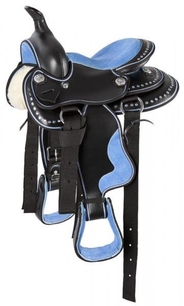 Westernové sedlo syntetické - modré